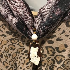 Jewelry - Carved Hummingbird and Flower Scarf Slide